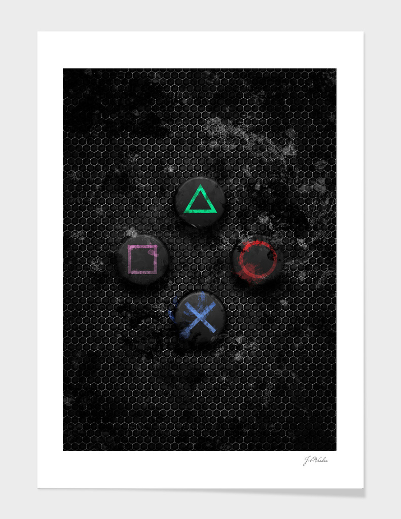 PlayStation buttons splatter painting
