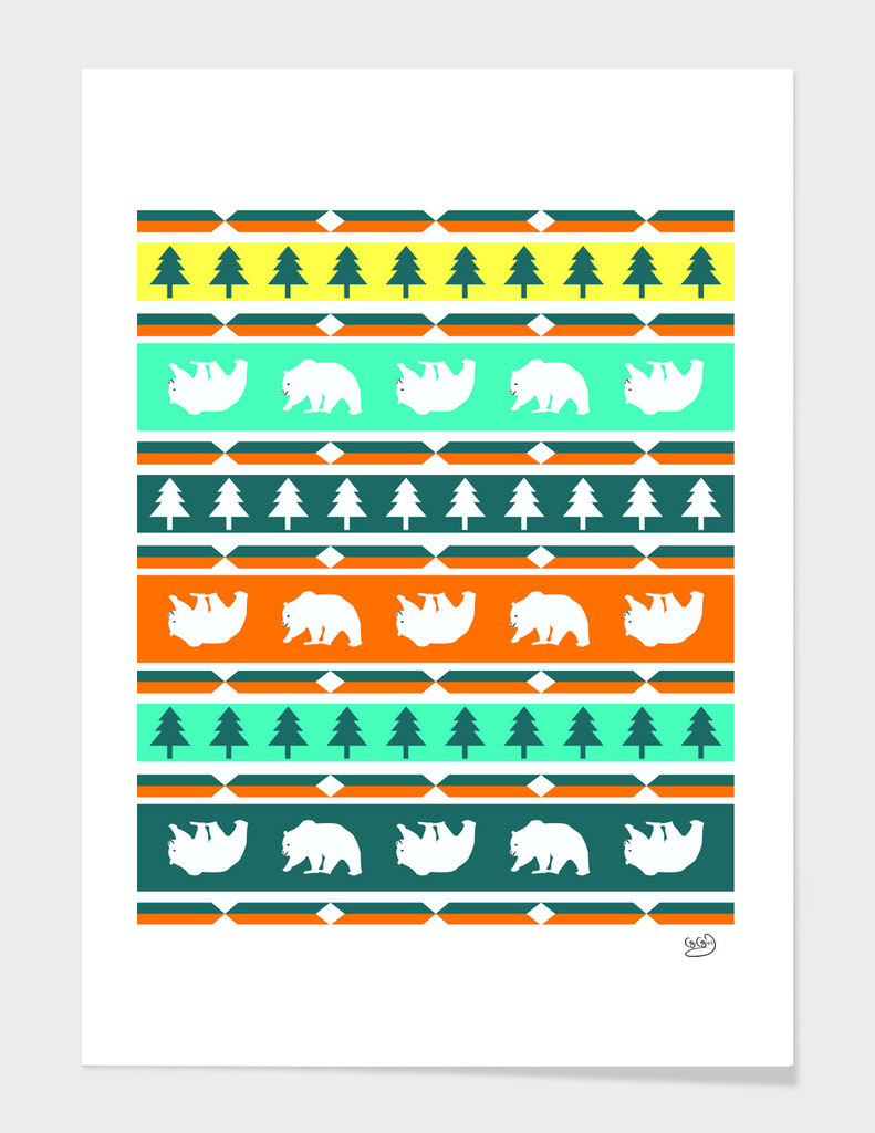Winter bears and trees