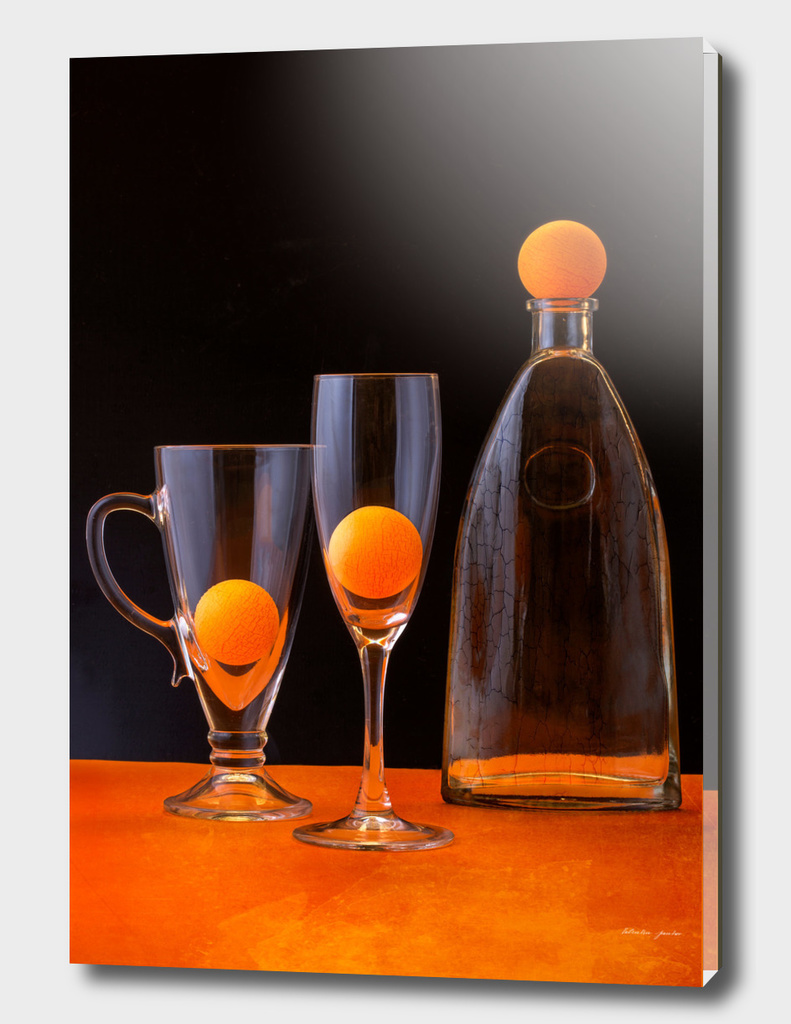 Still life with orange balls