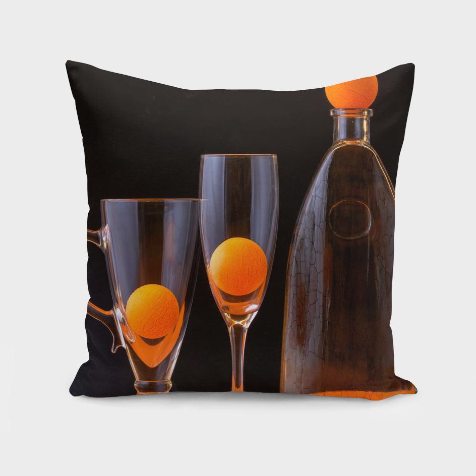 Still life with orange balls
