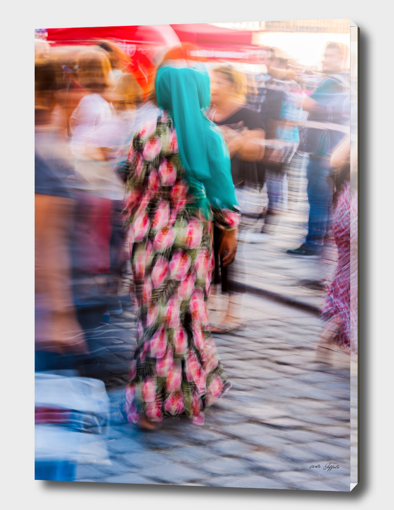 Turkish woman wearing colorful clothes