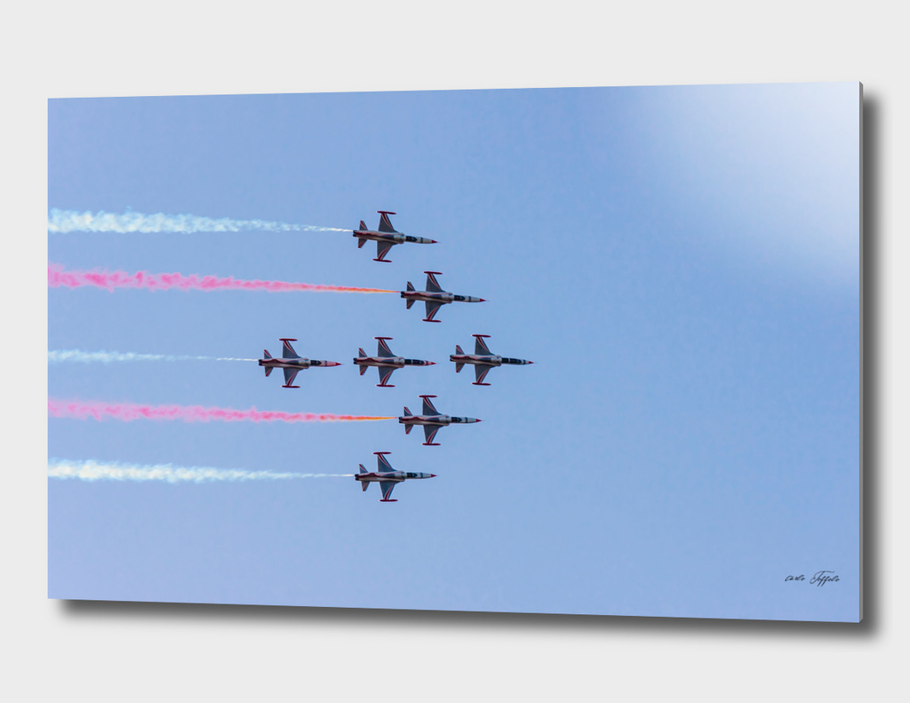 Turkish acrobatic aviation squadron flying