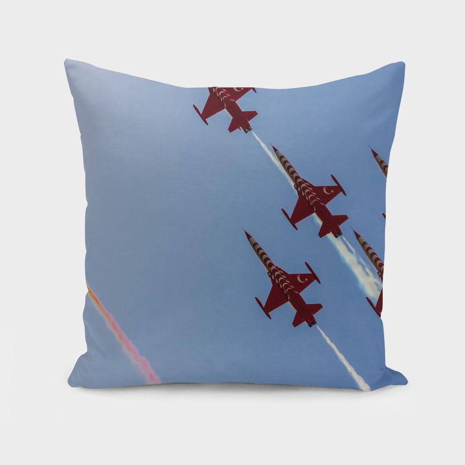 Acrobatic aviation squadron flying
