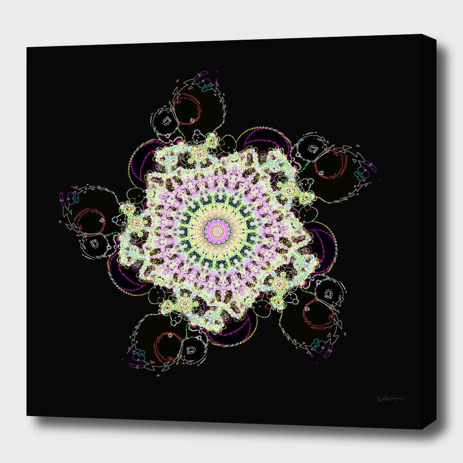 Fractal Flower Illuminated By Neon Lights