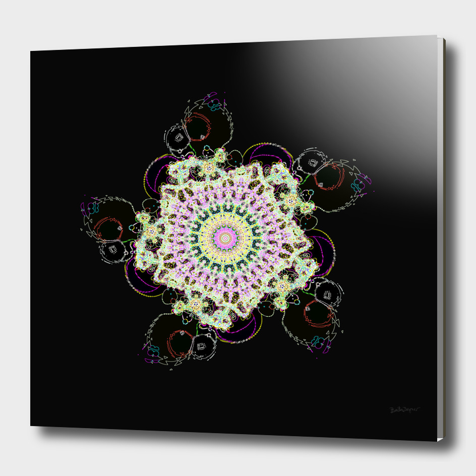 Fractal Flower Illuminated By Neon Lights