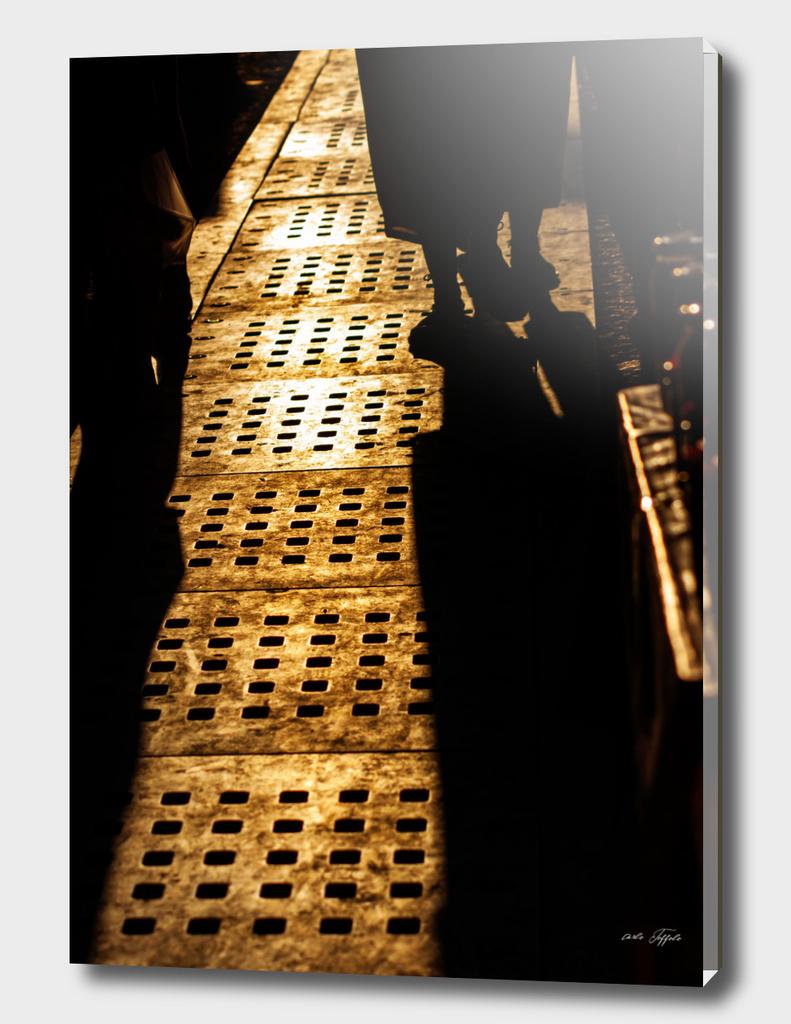 Evening shadows on the street at turkish bazaar
