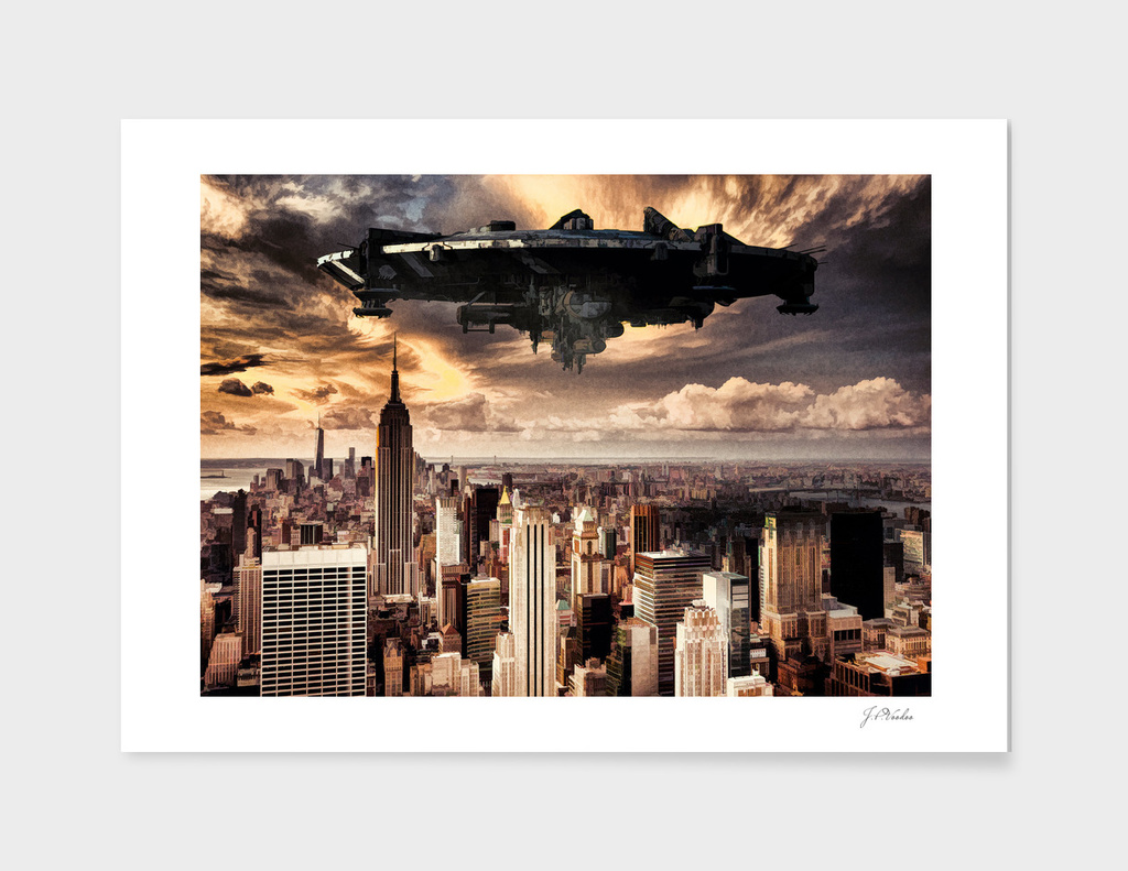 The alien ship over the New York