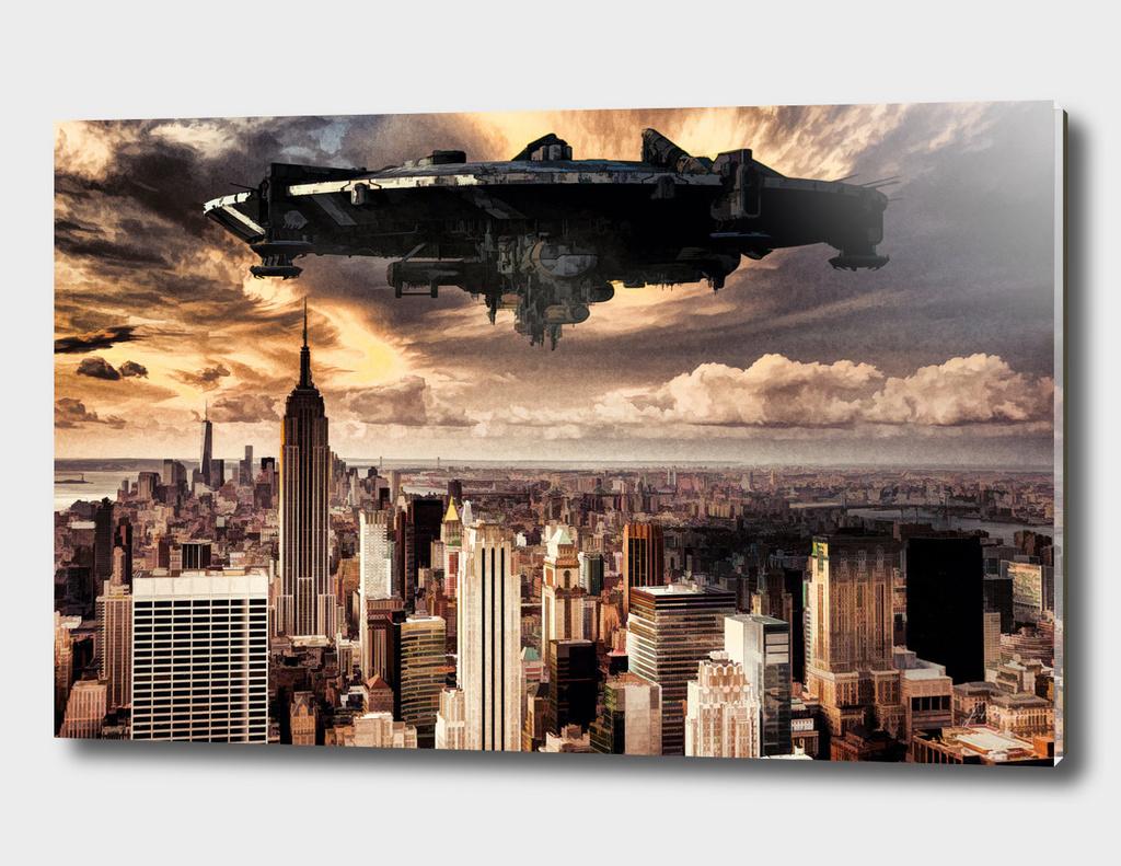 The alien ship over the New York