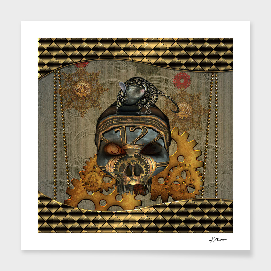 Steampunk, awesome steampunk skull with steampunk rat