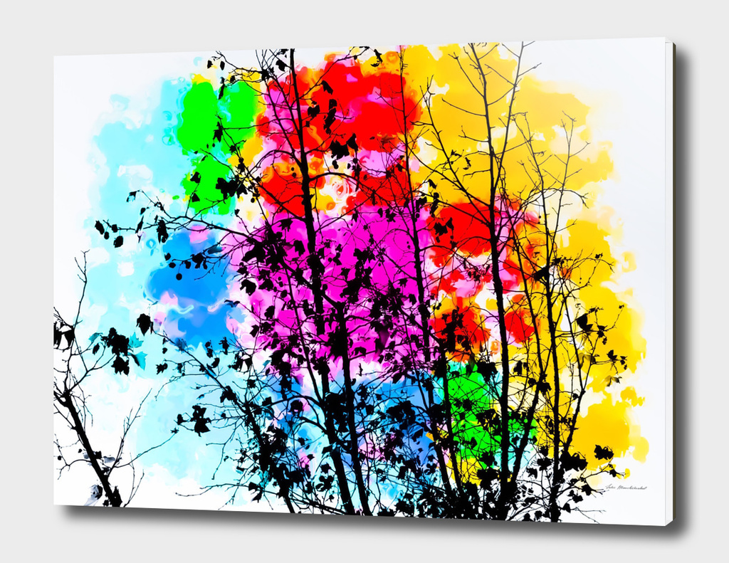 tree branch with splash painting texture abstract background