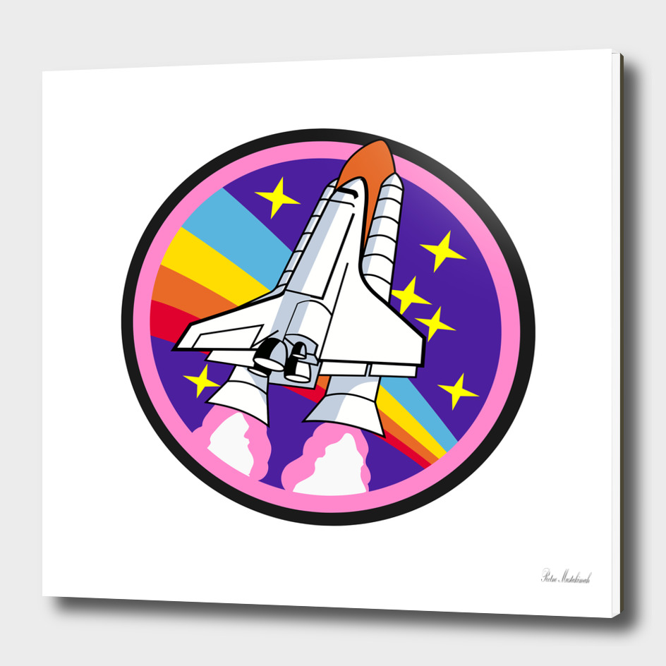 Badge patch pink rainbow rocket
