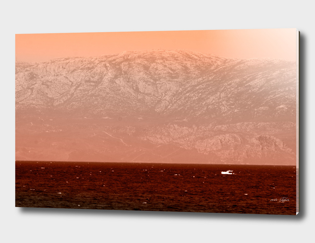 Panorama on the turkish aegean sea - red filtered