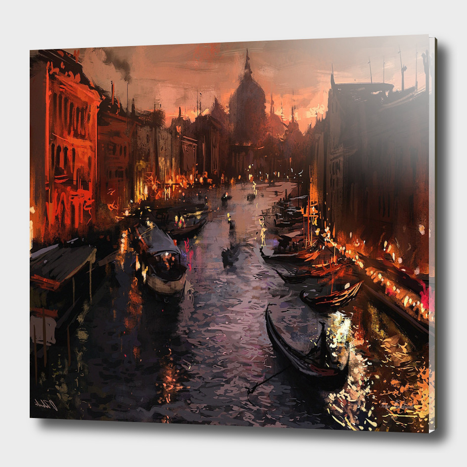 River venice gondolas italy artwork painting