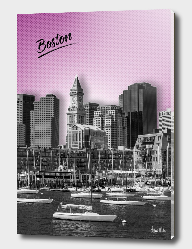 BOSTON Skyline | Graphic Art | pink