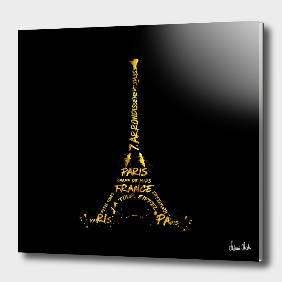 Digital-Art Eiffel Tower | black & golden