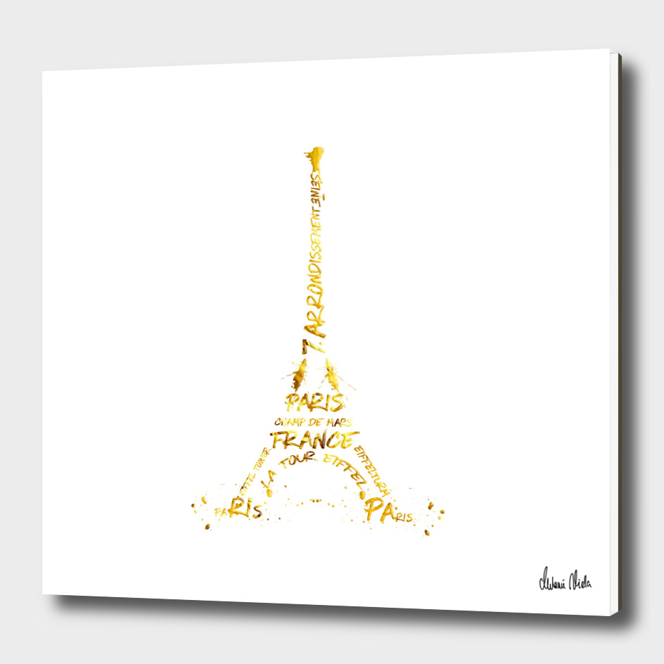 Digital-Art Eiffel Tower | white & golden