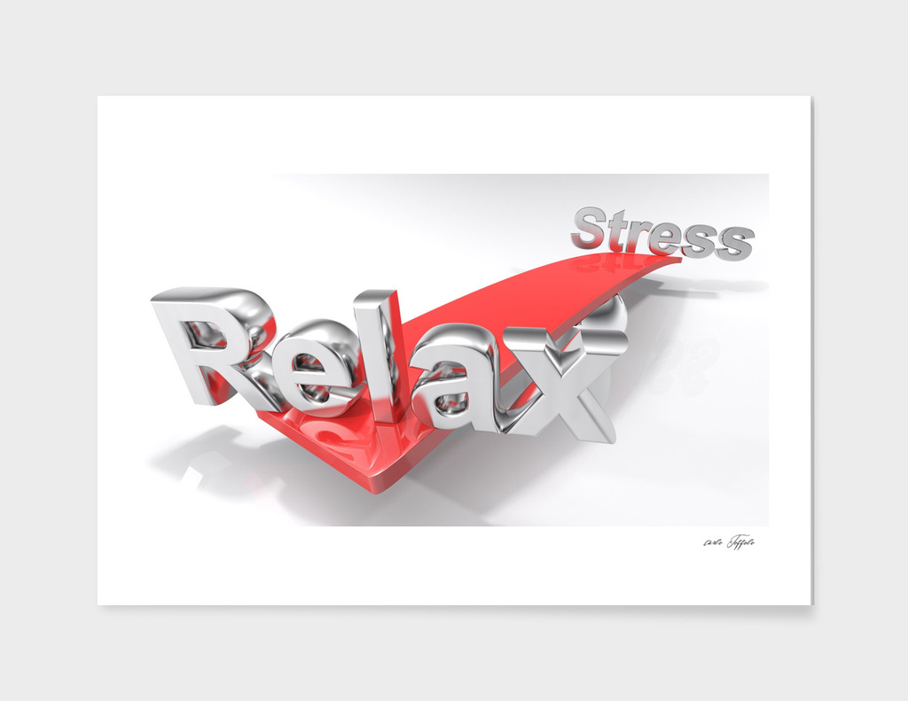 Relax and stress on a balanced surface - 3D rendering