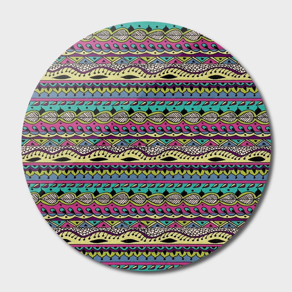 Aztec Pattern Cool Colors