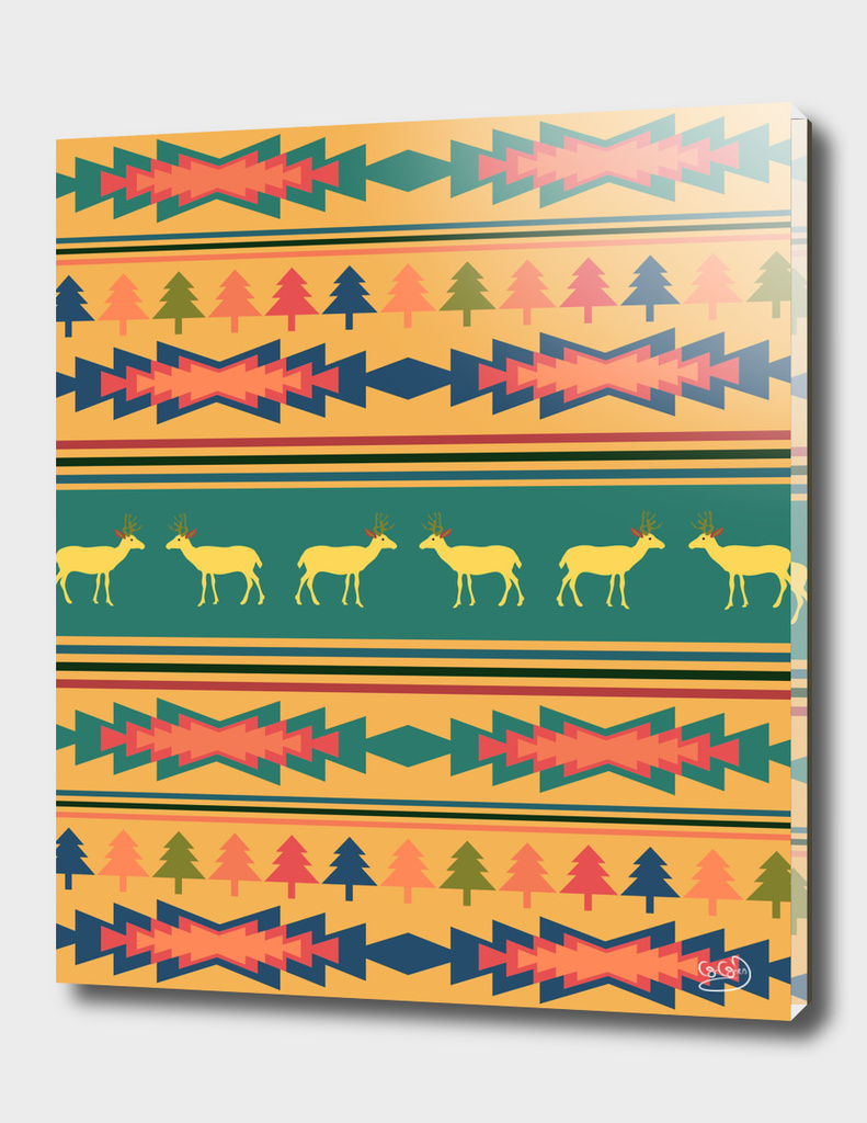 Christmas pattern with deer and native elements