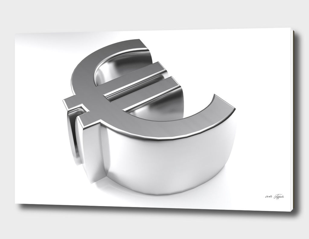 Euro symbol 3D chromed - 3D rendering
