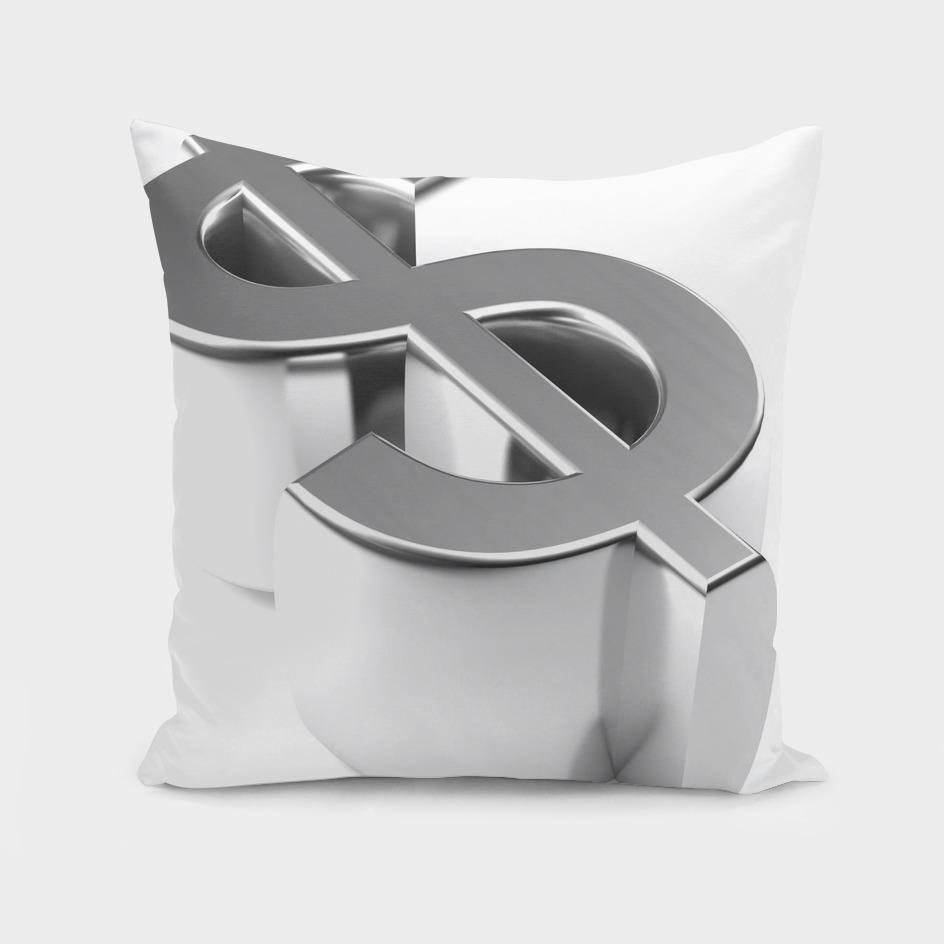 Dollar symbol 3D chromed - 3D rendering