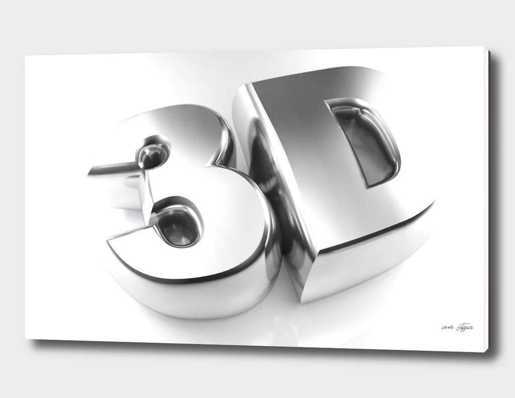 3D in chromed letters - 3D rendering