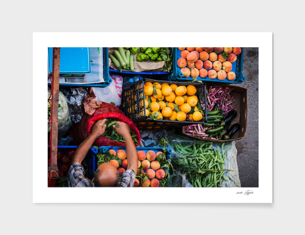 Fruit and vegetable seller on the street