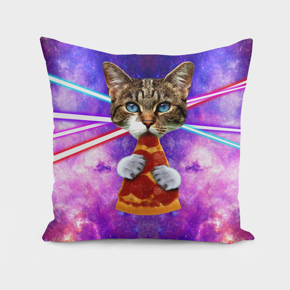Cat Pizza Eating Cosmos Space galaxy