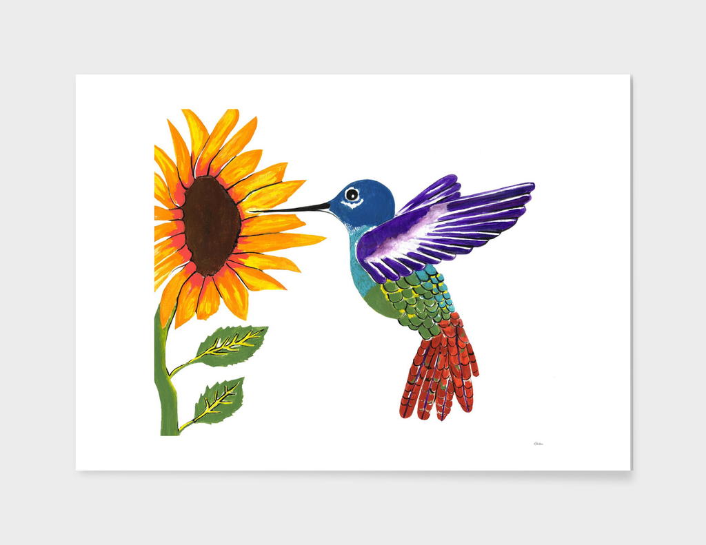The Sunflower And The Hummingbird