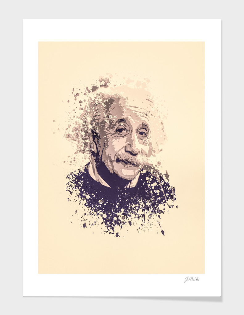 Albert Einstein splatter painting