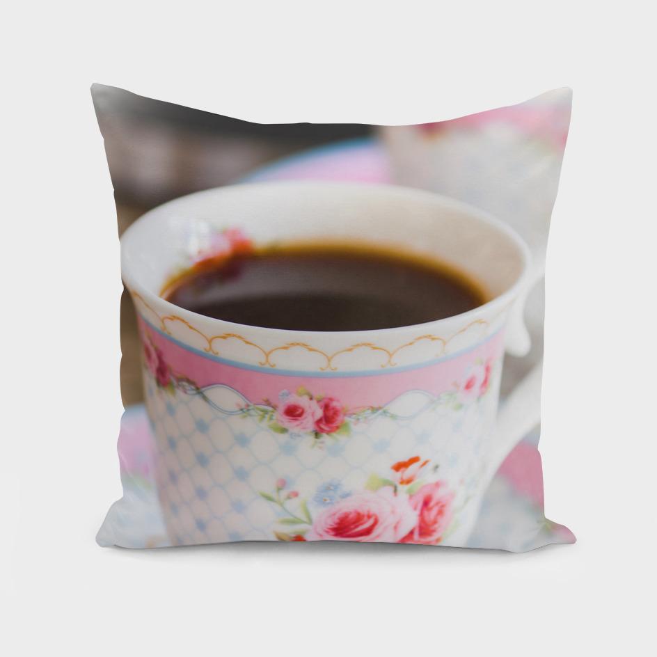 Decorated ceramic coffee cups