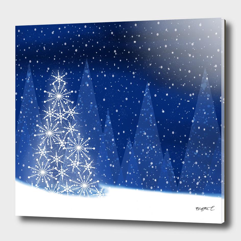 Snowy Night Christmas Tree Holiday Design