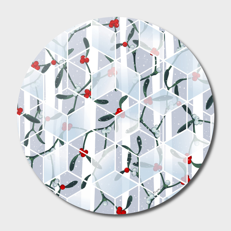 Geometric Mistletoe Holiday Design