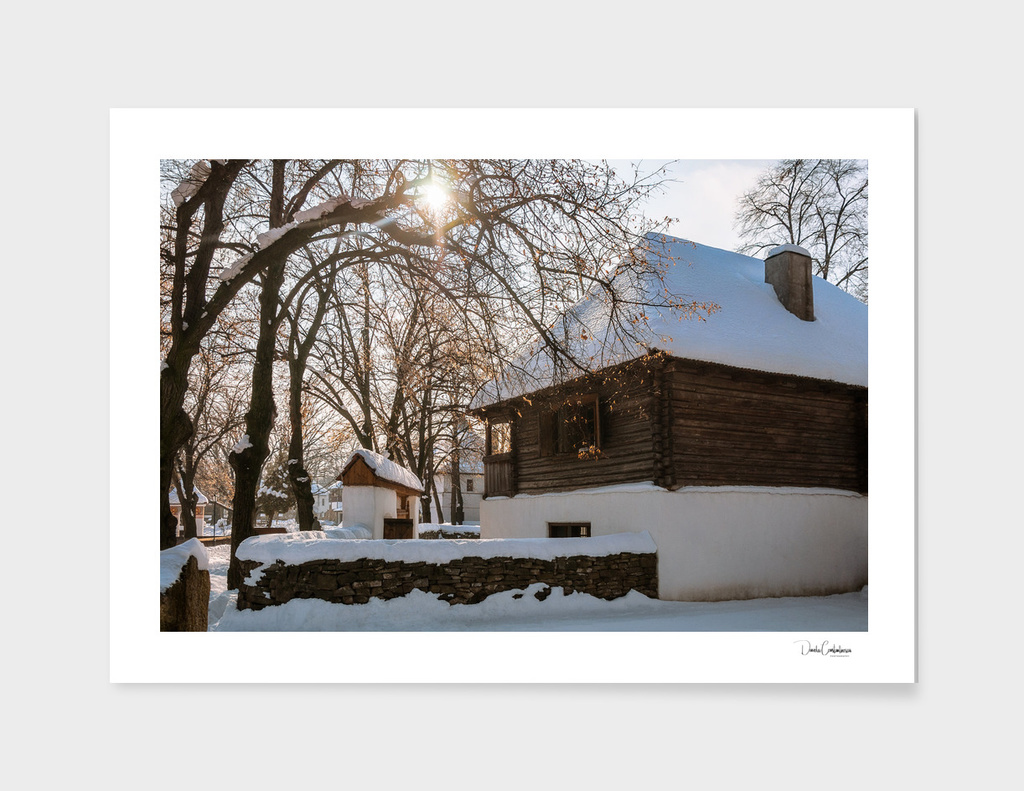 Winter tale in an old rustic village