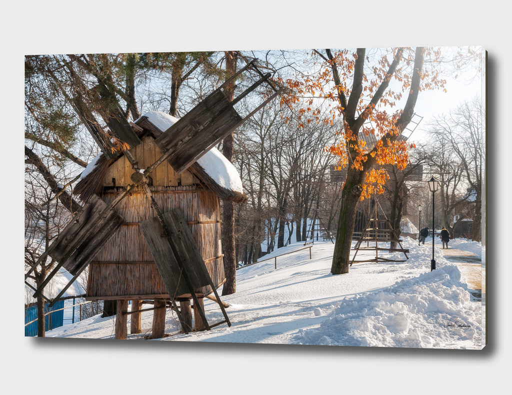 Winter Romanian postcard with windmills
