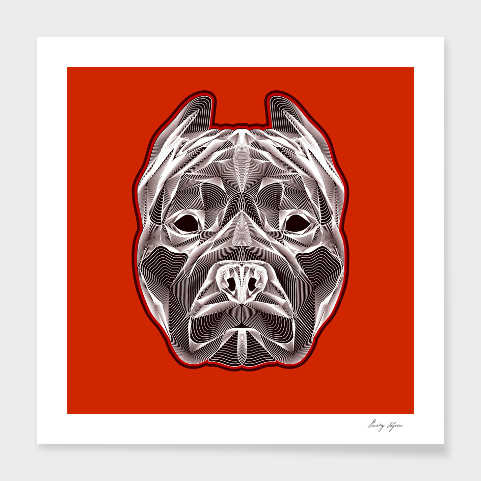Pit bull head linear poster