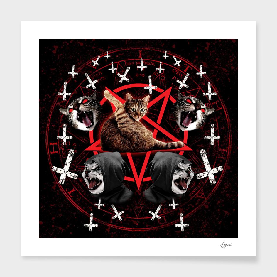 satanic cat pentagram death black metal band exorcist