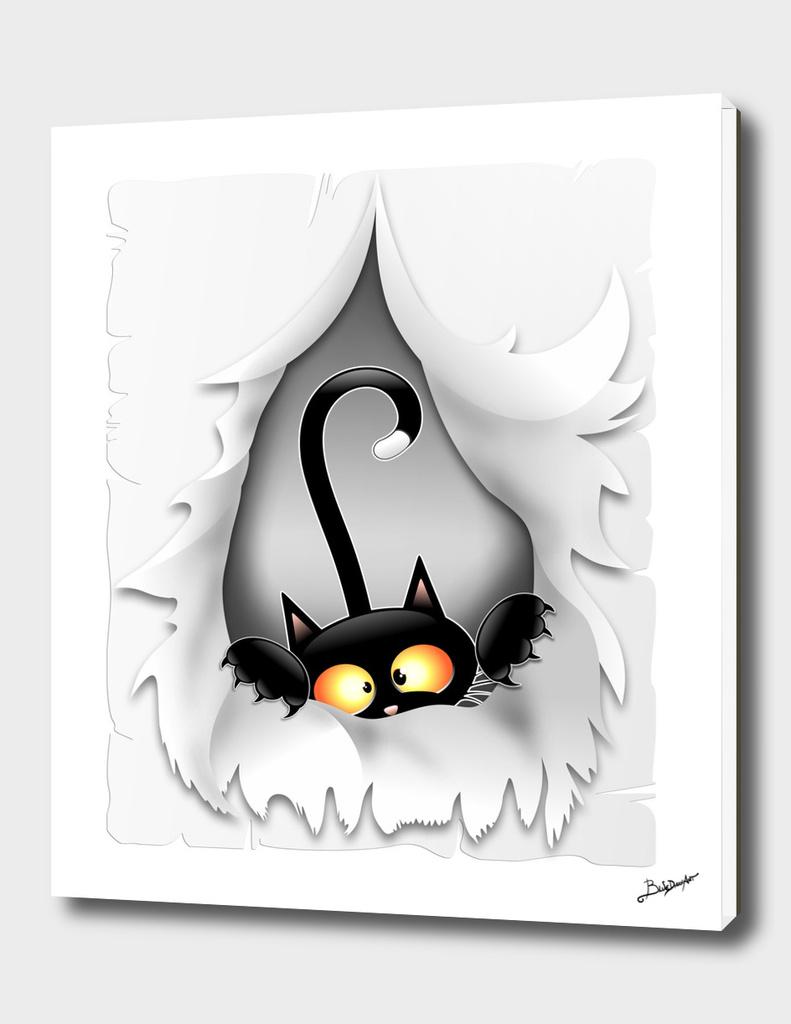 Fun Cat Cartoon in ripped fabric Hole