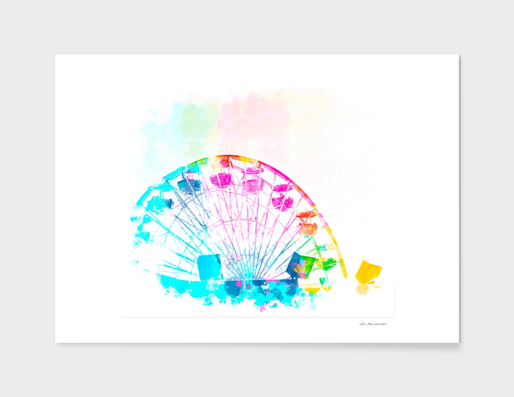ferris wheel with colorful painting abstract