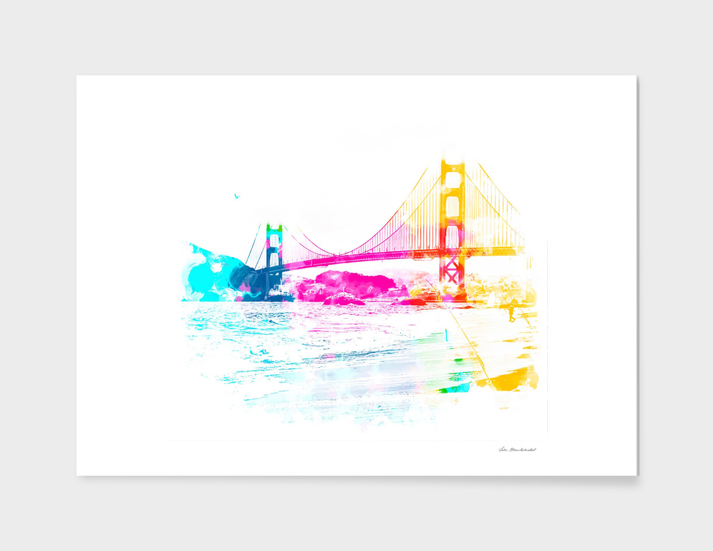 beach with Golden Gate bridge background at San Francisco