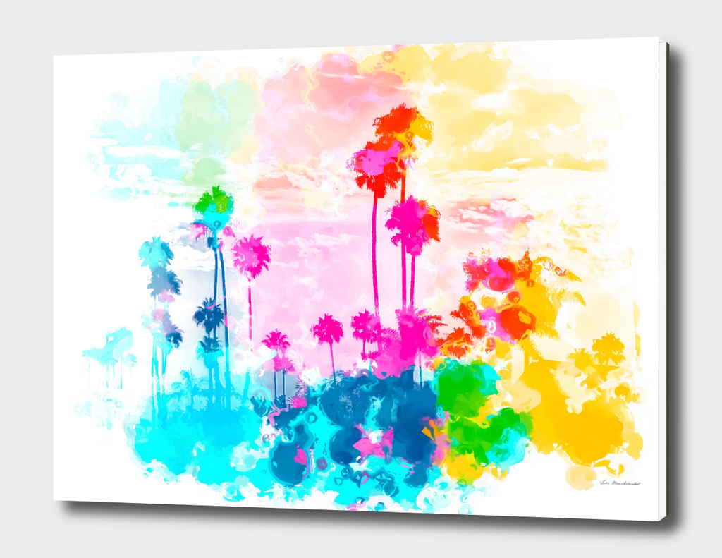 palm tree at the beach with colorful painting abstract