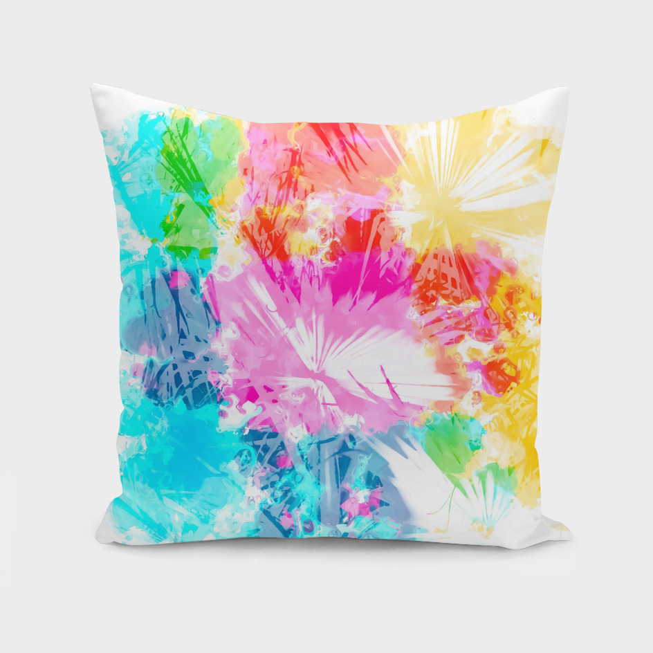 colorful palm leaf texture abstract in pink blue yellow