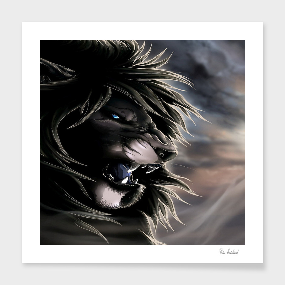Angry lion digital art hd