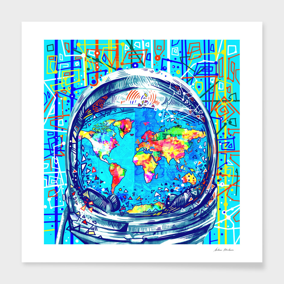 astronaut world map pop art