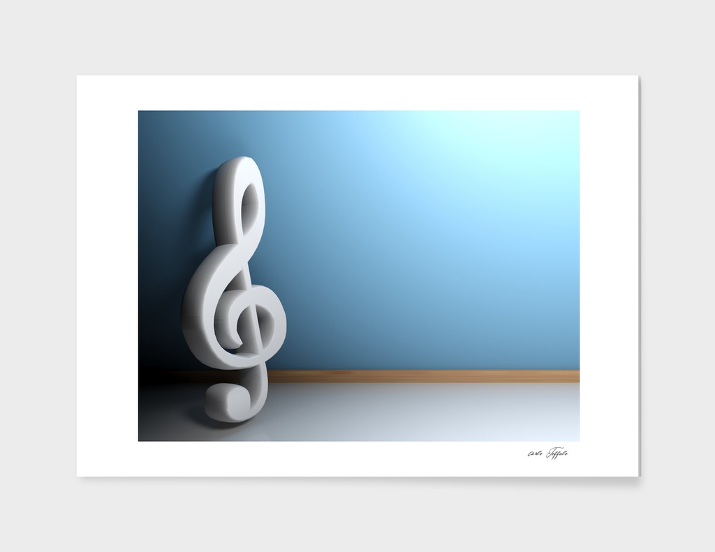 Musical sol key leaning at blue wall - 3D rendering