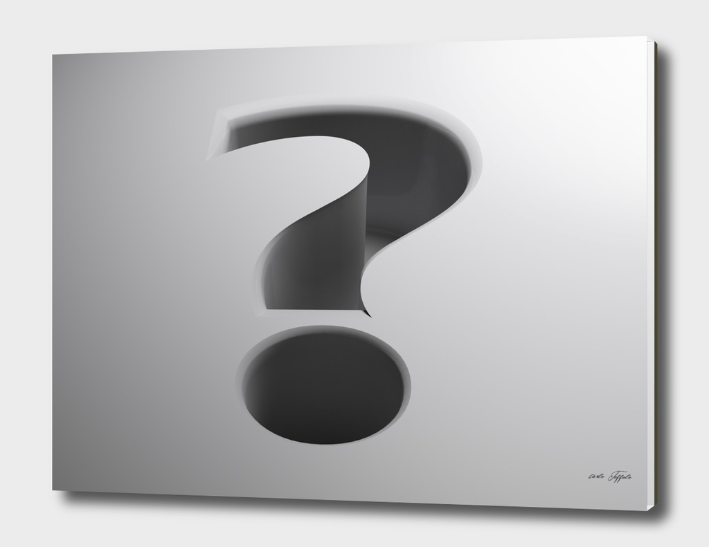 White surface with question mark shape - 3D rendering