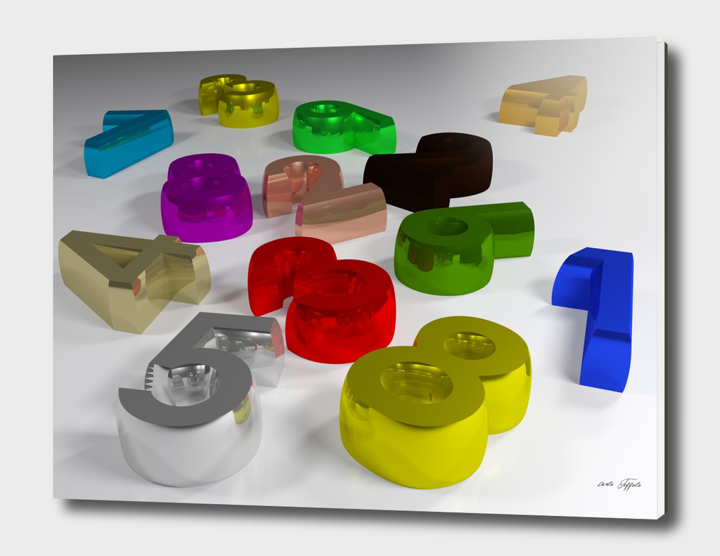 Numbers spread on a white table - 3D rendering