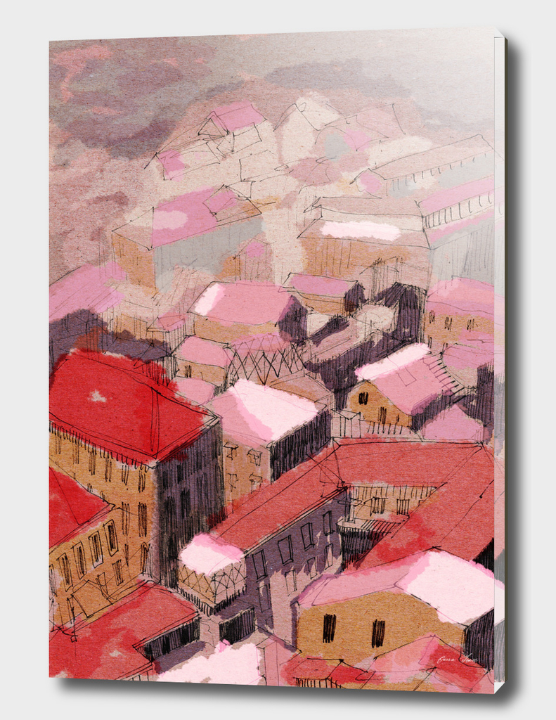 Painted Italian cityscape