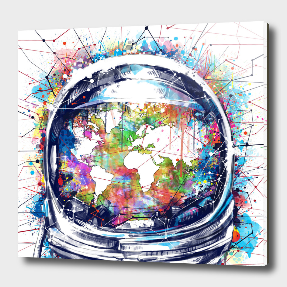 astronaut world map watercolor