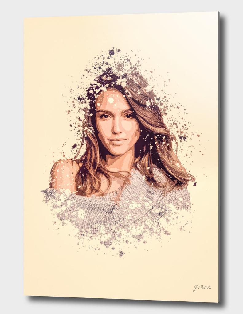 Jessica Alba splatter painting